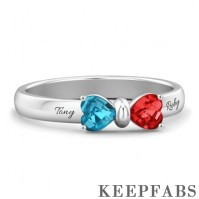 Engraved Birthstone Adorable Bow Ring
