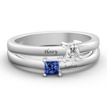 Personalized Birthstone Promise Ring with Engraving