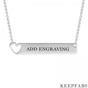 Engravable Heart Bar Necklace Silver