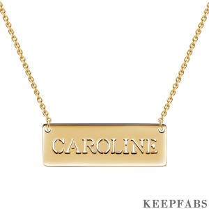 Engravable Bar Necklace 14K Gold Plated