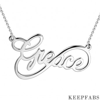 Custom Infinity Name Necklace Silver Z901553562291