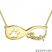 Pet Paw Print Infinity Name Necklace 14K Gold Plated Z901553647582