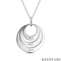 Engravable Three Disc Necklace Silver Z901553820339