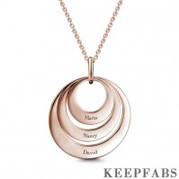 Engravable Three Disc Necklace Rose Gold Z901553821799