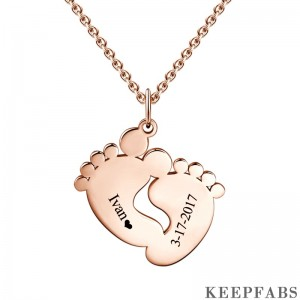 Personalized Baby Feet Necklace Rose Gold Z901553822963