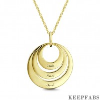 Engravable Three Disc Necklace 14K Gold Plated Z901553823435