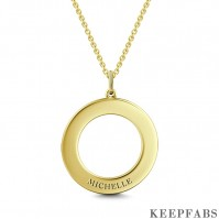 Engravable Disc Necklace 14K Gold Plated Z901553824201