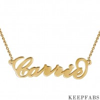 Carrie Style Name Necklace 14K Gold Plated