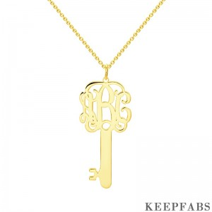 Key Monogram Necklace Gold Plated Silver Z901554343047