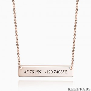 Engraved Coordinate Bar Necklace Rose Gold Plated Silver Z901553478432