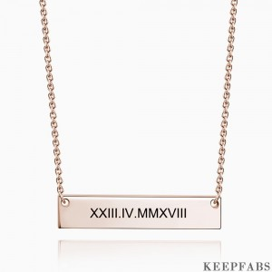 Engraved Roman Numeral Bar Necklace Rose Gold Plated Silver