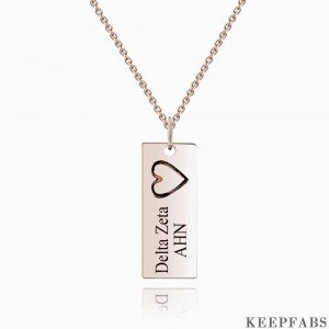 Vertical Bar Necklace For Couples With Engraving Rose Gold Plated Silver