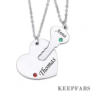 Personalized Key Heart Necklace Set with Birthstones