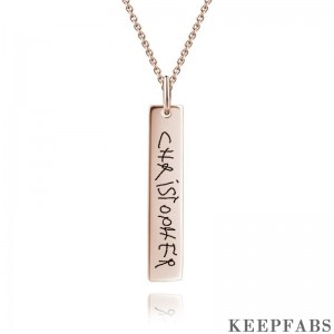 Handwriting Bar Necklace, Personalized Photo Necklace Rose Gold