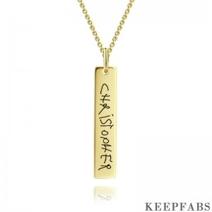 Handwriting Bar Necklace, Personalized Photo Necklace Golden