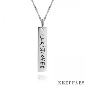 Personalized Handwriting Bar hoto Necklace Silver