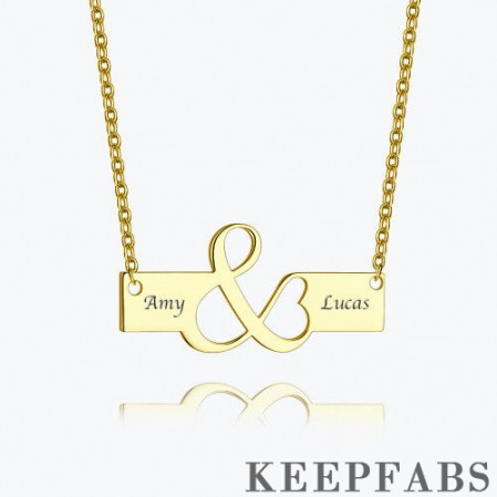 Excellent Engraved Bar Necklace 14k Gold Plated Silver