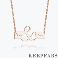 Excellent Engraved Bar Necklace Rose Gold Plated Silver