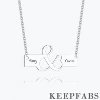 Excellent Engraved Bar Necklace Silver
