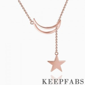 Crescent Moon and Star Necklace Rose Gold Plated Silver