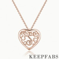 Monogram Heart Necklace Rose Gold Plated Silver