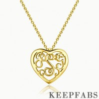 Monogram Heart Necklace 14k Gold Plated Silver