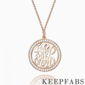Pave CZ Monogram Necklace Rose Gold Plated Silver