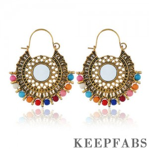 Colorful Beads Embellished Golden Bohemian Drop Earrings