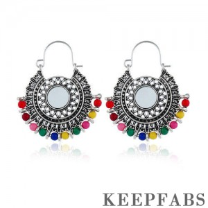 Colorful Beads Embellished Silver Bohemian Drop Earrings