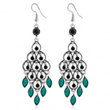 Peacock Opening Bohemian Drop Earrings Green