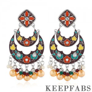 Colorful Double-layer Crescent Bohemian Drop Earrings