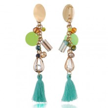 Metal Round Long Section Bohemian Drop Earrings