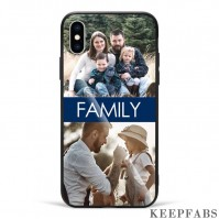 iPhoneX Custom Photo Protective Phone Case - Glass Surface - 2 Pictures with Name