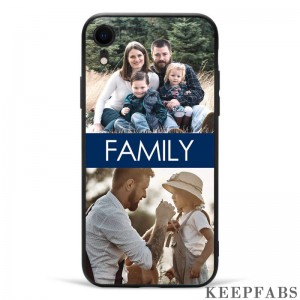 iPhone Xr Custom Photo Protective Phone Case - 2 Pictures with Name Soft Shell Matte