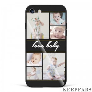 iPhone 6/6s Custom Photo Protective Phone Case - Glass Surface - 6 Pictures with Name