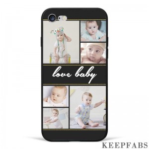iPhone 7/8 Custom Photo Protective Phone Case - 6 Pictures with Name Soft Shell Matte