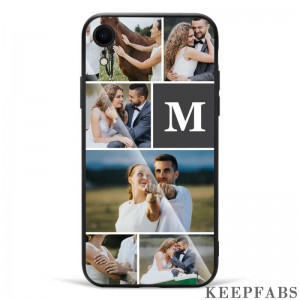 iPhone Xr Custom Photo Protective Phone Case - Glass Surface - 6 Pictures with Single Letter