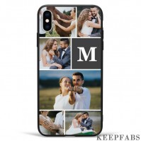 iPhone Xs Max Custom Photo Protective Phone Case - 6 Pictures with Single Letter Soft Shell Matte