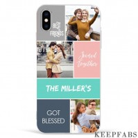 iPhone Xs Max Custom Photo Protective Phone Case - 3 Pictures with Name Soft Shell Matte