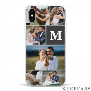 iPhoneX Custom Photo Protective Phone Case - 6 Pictures with Single Letter Soft Shell Matte