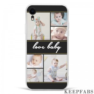 iPhone Xr Custom Photo Protective Phone Case - 6 Pictures with Name Soft Shell Matte