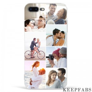 iPhone 7p/8p Custom Photo Collage Protective Phone Case - 7 Pictures Soft Shell Matte