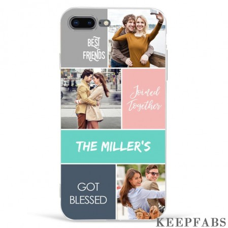 iPhone 7p/8p Custom Photo Protective Phone Case - 3 Pictures with Name Soft Shell Matte
