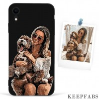 iPhone Xr Custom Photo Protective Anime Black Phone Case Soft Shell Matte