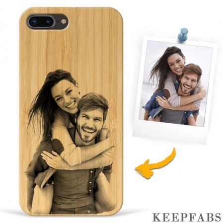 iPhone 7p/8p Custom Photo Protective Phone Case - Carbonized Bamboo