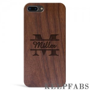 iPhone 7p/8p Engraved Protective Phone Case - Walnut