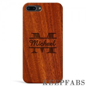 iPhone 7p/8p Engraved Protective Phone Case - Red Sandalwood