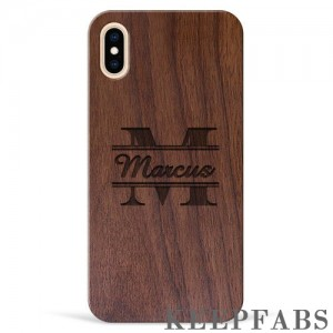 iPhone Xs Max Engraved Protective Phone Case - Walnut