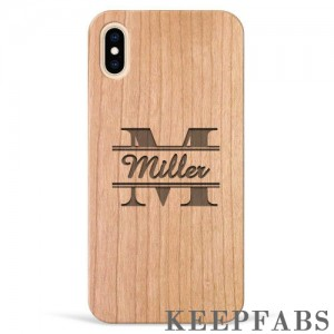 iPhone Xs Max Engraved Protective Phone Case - Cherry Wood