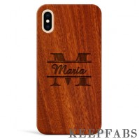 iPhone Xs Max Engraved Protective Phone Case - Red Sandalwood